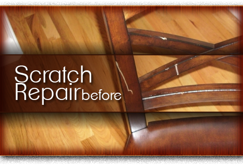 wood chair scratch repair before
